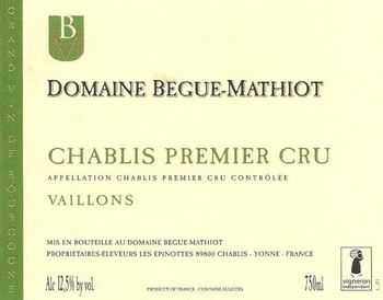 Begue-Mathiot Chablis 1er Cru Vaillons 2017